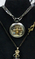 53mm cageless pocketwatch necklace. Bumblebee and gems